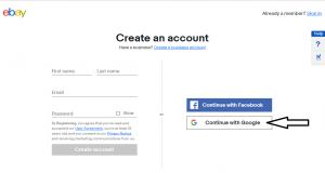 ebayのアカウント登録画面